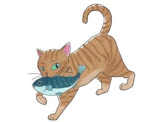 魚をくわえた猫-min