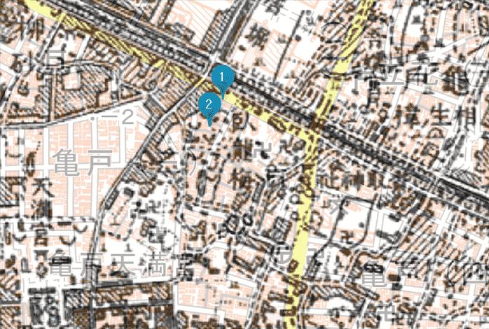 梅屋敷跡新旧地図-min