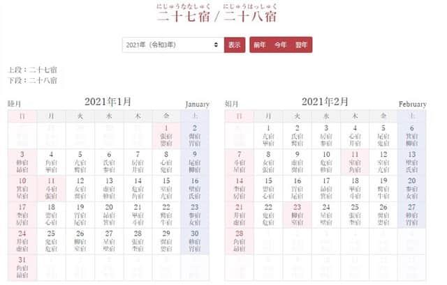 二十七宿・二十八宿カレンダー-min